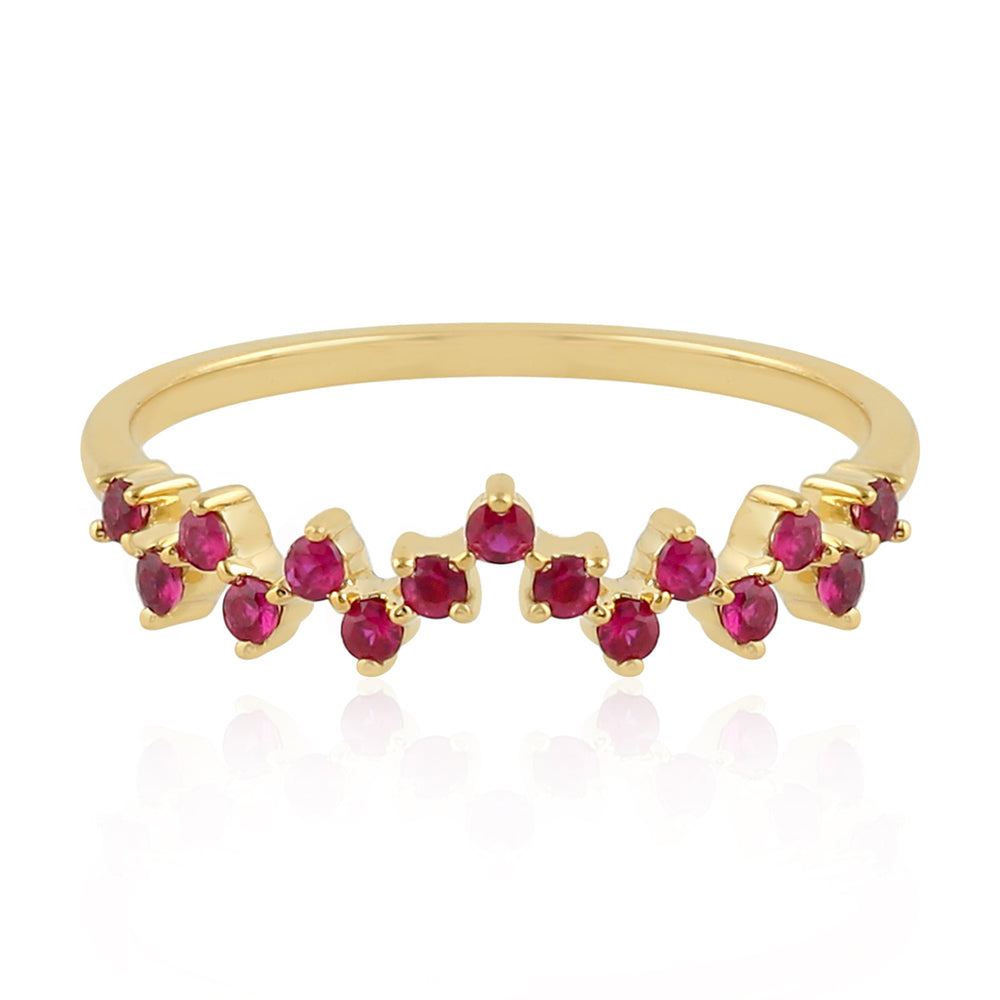 Zig Zag Yellow Gold July Ruby Birthstone Ring Christmas Gift