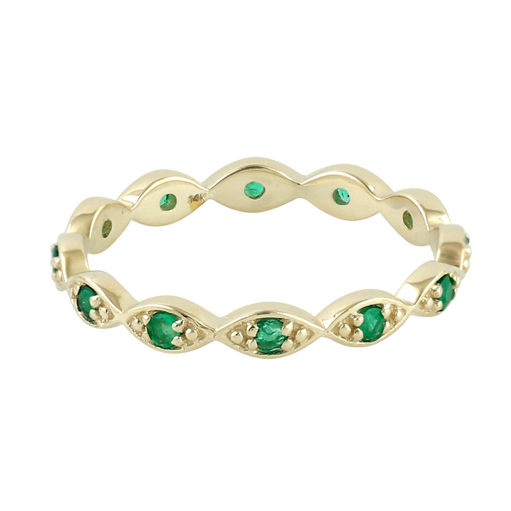 Designer Yellow Gold May Emerald Birthstone Band Ring for Women