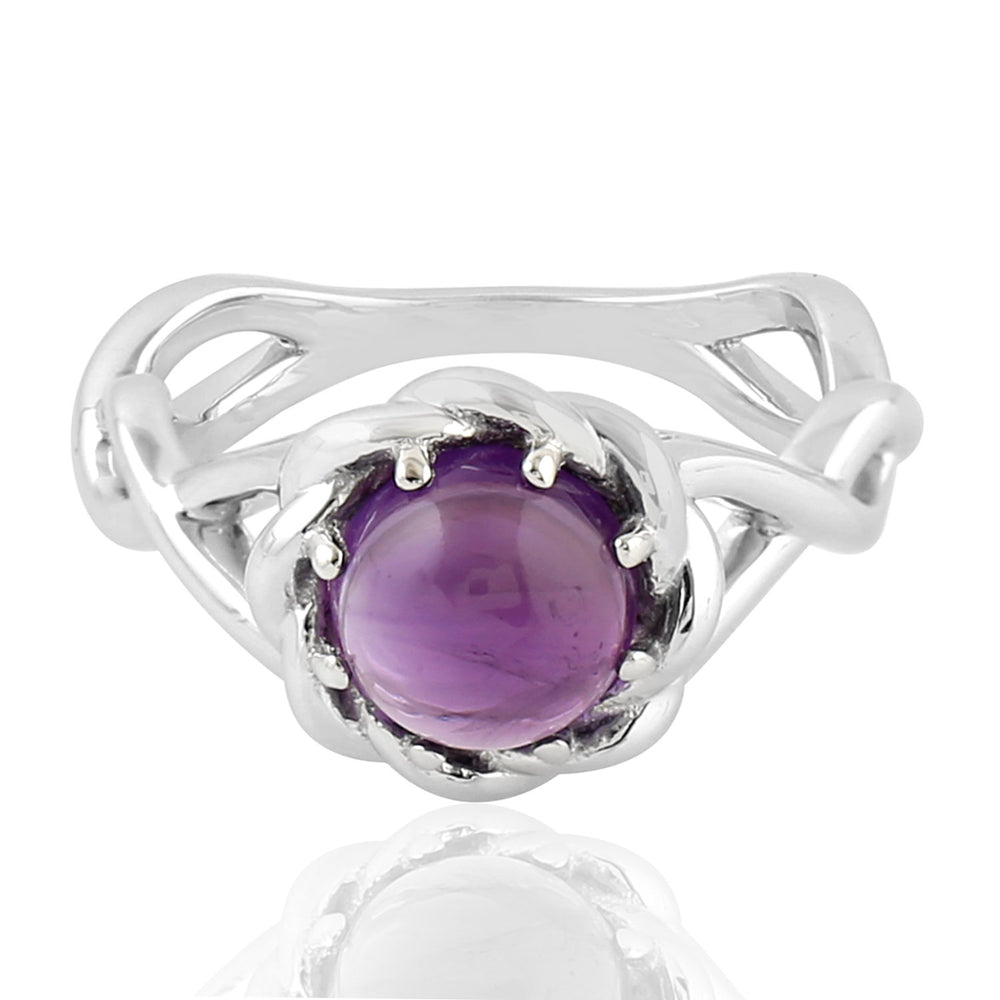 Valentine Sale 2.23 Natural Amethyst Cocktail Ring 925 Sterling Silver Jewelry February Birthstone Jewelry