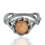 925 Sterling Silver 2.34ct Peach Birthstone June Moonstone Twisted Ring Size 8