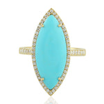 3.16 Natural Turquoise Cocktail Ring 14k Yellow Gold Diamond Jewelry Valentines Gift