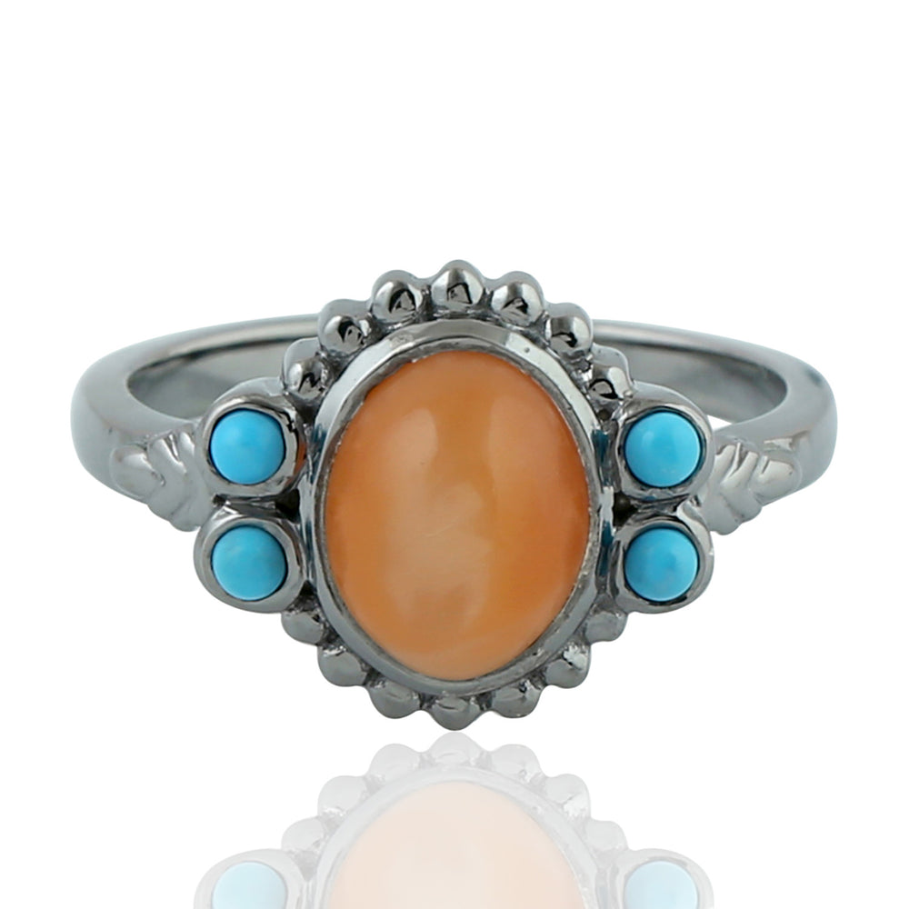Birthstone June Moonstone Sterling Silver 0.21ct Turquoise Gemstone Promise Ring Size 7