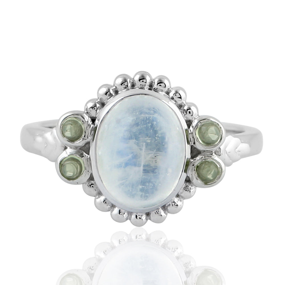 Birthstone June Moonstone Promise Ring 925 Sterling Silver Ring Size US 6