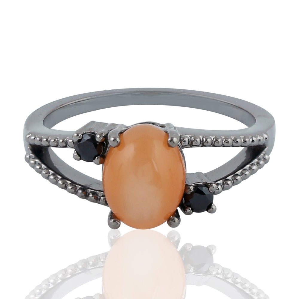 Birthstone June Moonstone 925 Sterling Silver 0.18ct Black Spinel Three Stone Ring Size 8 Christmas Gift