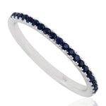 18k White Gold  Sapphire Half Eternity Ring September Birthstone Jewelry