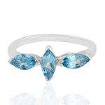 925 Sterling Silver Three Blue Topaz Stone Ring November Birthstone Jewelry