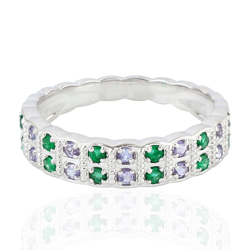May Emerald Birthstone Designer 18kt White Gold Band Ring