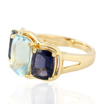 8.87ct Aquamarine Three-Stone Ring 18k Yellow Gold Iolite Jewelry