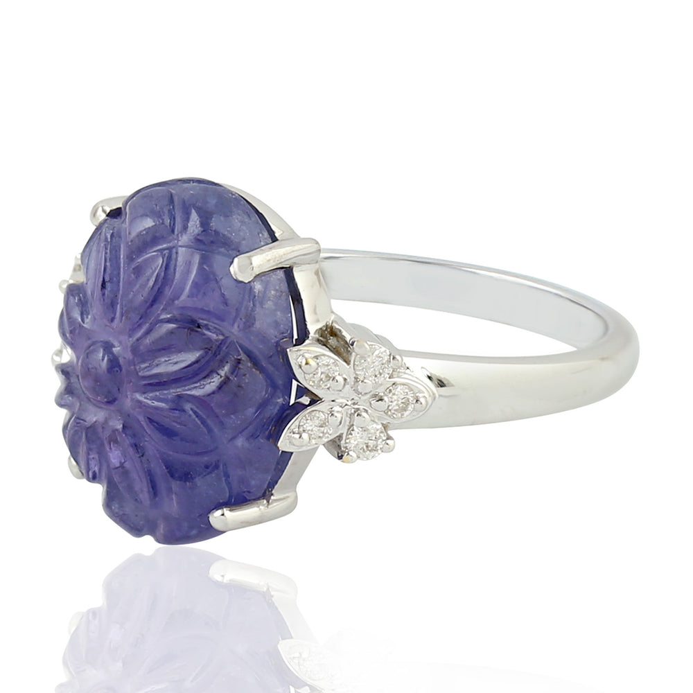 Gold 18Kt  0.12 Ct Diamond 8.45 Ct Tanzanite Cocktail Ring December Birthstone Jewelry