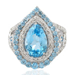 18Kt Gold 0.91 ct Diamond Topaz Cocktail Ring November Birthstone Jewelry