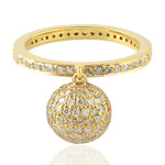 0.93ct Natural Diamond Chram Ring 18k Yellow Gold Jewelry