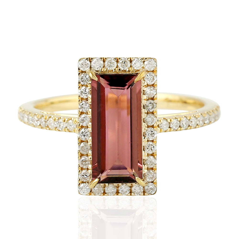 Solid 18k Yellow Gold Natural Tourmaline Diamond Cocktail Ring Women Jewelry