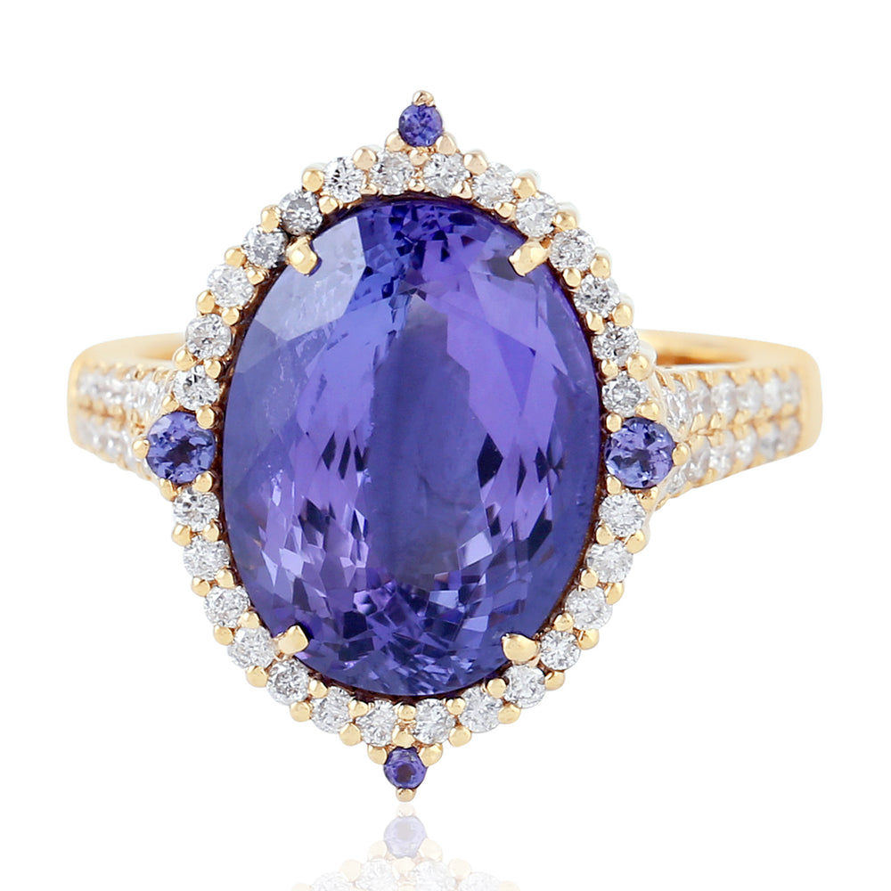 8.33Ct Natural Tanzanite Cocktail Ring 18K Yellow Gold Jewelry