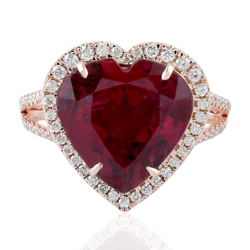 Valentine Gift 6.38ct Rubylite Cocktail Ring 18k Rose Gold Diamond Jewelry