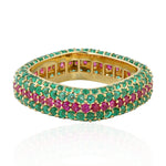 3.7ct Natural Emerald Band Ring 18k Yellow Gold Ruby Jewelry