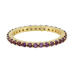 Valentine Sale 0.81ct Natural Amethyst Band Ring 18k Yellow Gold Jewelry February Birthstone Jewelry