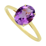 Oval Amethyst Gemstone Solitaire Ring 14k Yellow Gold Jewelry