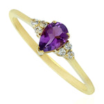 Valentine 0.42ct Natural Amethyst Stackable Ring 10k Yellow Gold Topaz Jewelry February Birthstone Jewelry