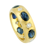 4.16ct Natural Sapphire Band Ring 18k Yellow Gold Diamond Jewelry