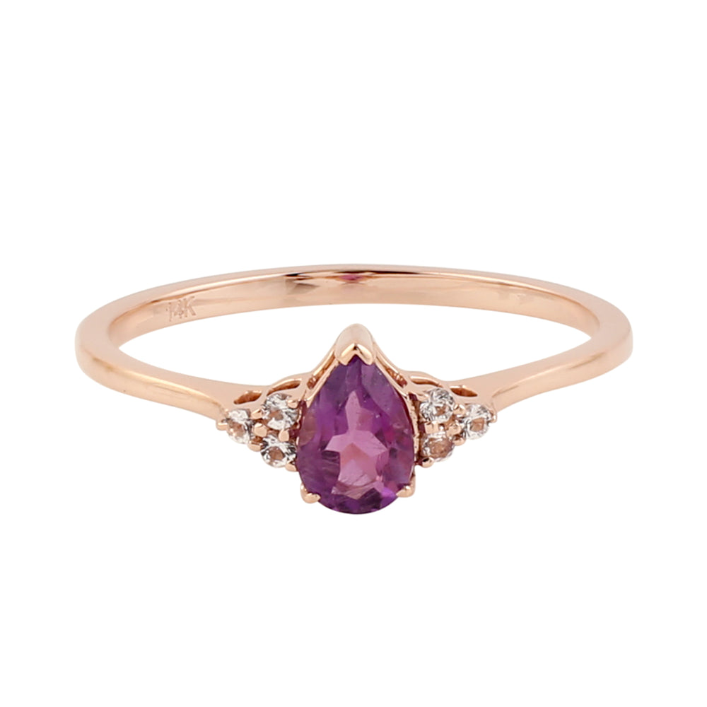 Valentine Sale 0.42ct Natural Amethyst Band Ring 14k Rose Gold Topaz Jewelry February Birthstone Jewelry