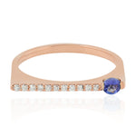 0.25ct Natural Tanzanite Band Ring 10k Rose Gold Diamond Jewelry