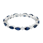 1.59ct Natural Sapphire Band Ring 18k White Gold Diamond Jewelry
