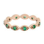 0.27ct Natural Emerald Band Ring 14k Rose Gold Jewelry