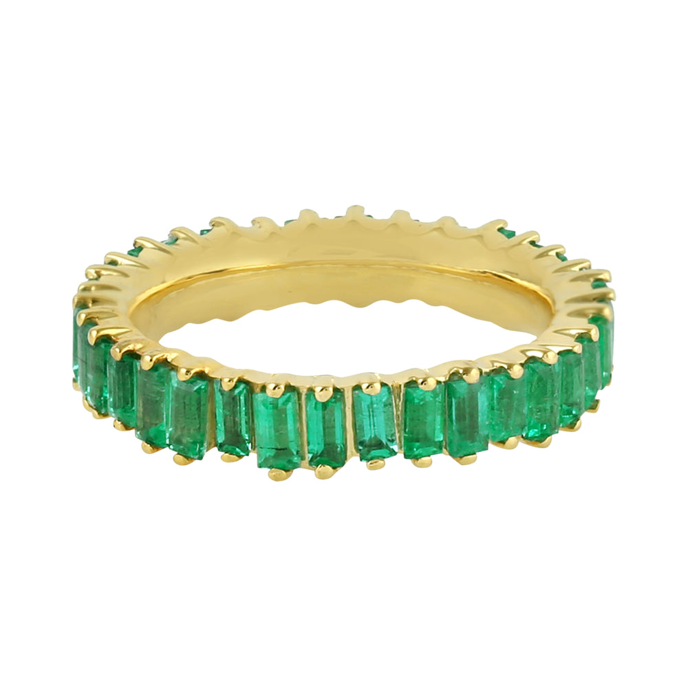 2.03ct Natural Emerald Band Ring 18k Yellow Gold Jewelry