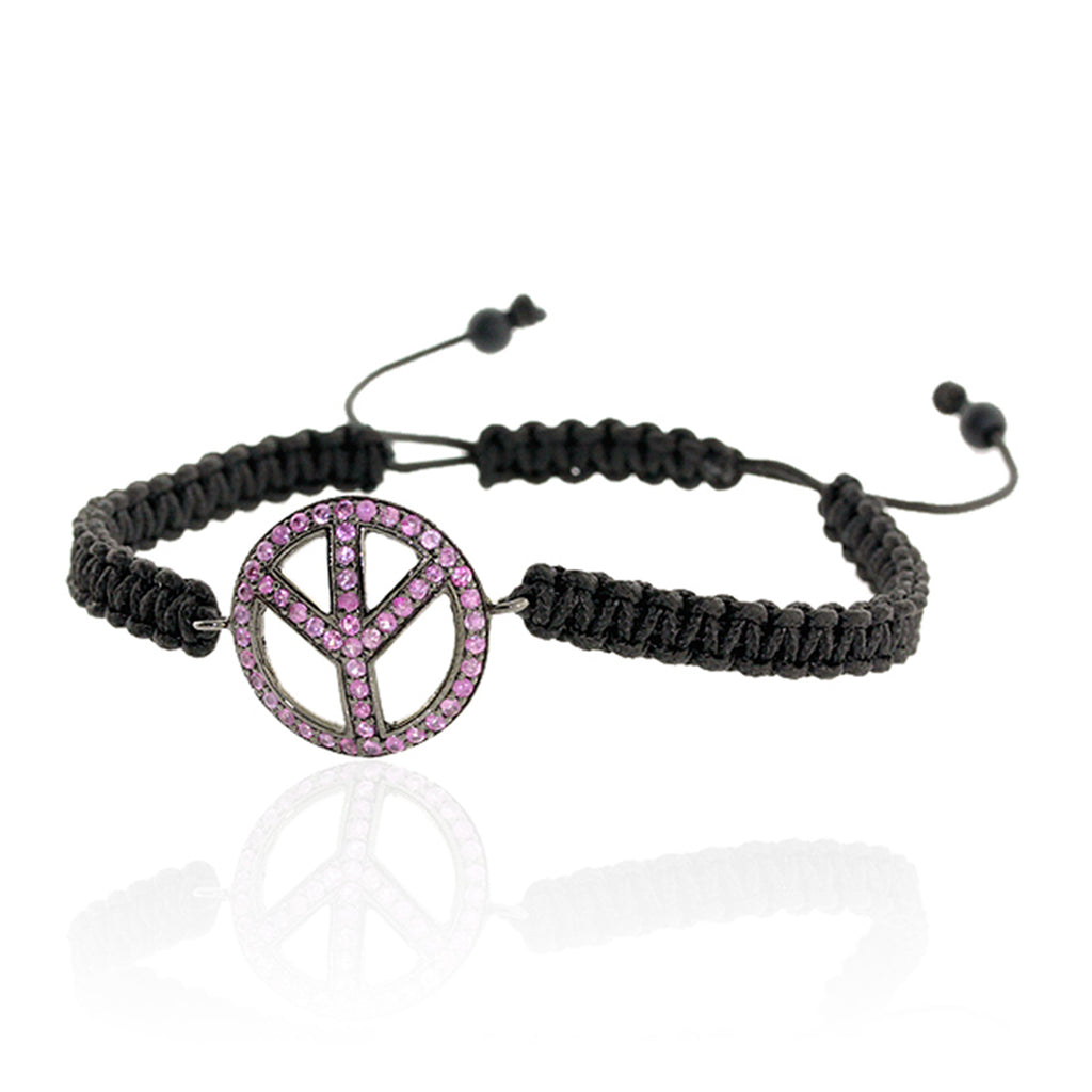Sterling Silver 0.86ct Pink Sapphire Beaded Onyx Peace Sign Macrame Bracelet