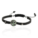 Tsavorite Onyx Beaded Macrame Bracelet Diamond Silver Women Fashion Jewelry