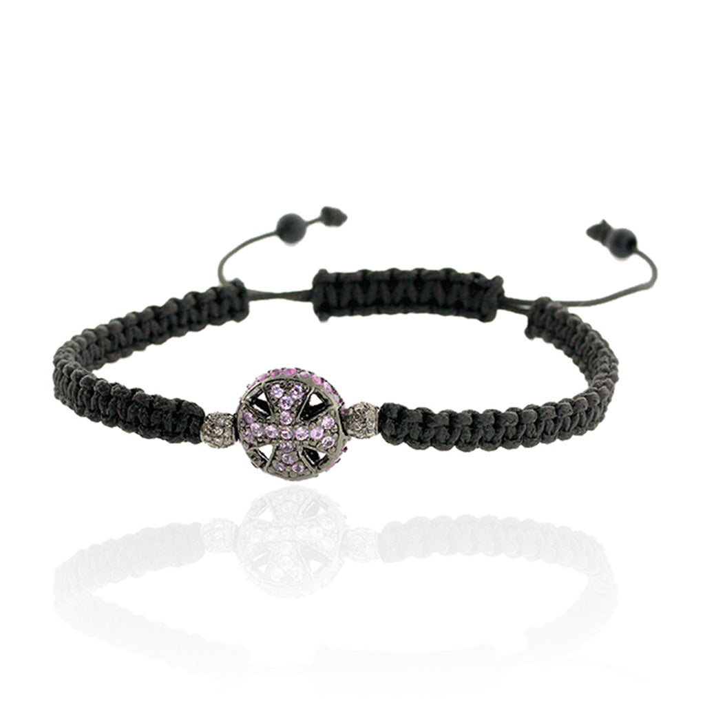 1.78ct Pink Sapphire Onyx Macrame Bracelet Sterling Silver Fashion Jewelry
