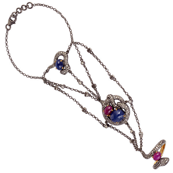 Blue Sapphire And Ruby Pave Slave Bracelet In Gold Fashion Jewelry - Mettlle