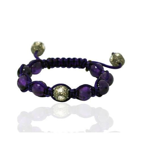 52.16ct Amethyst Rose Cut Diamond Macrame Bracelet 0.925 Sterling Silver Jewelry