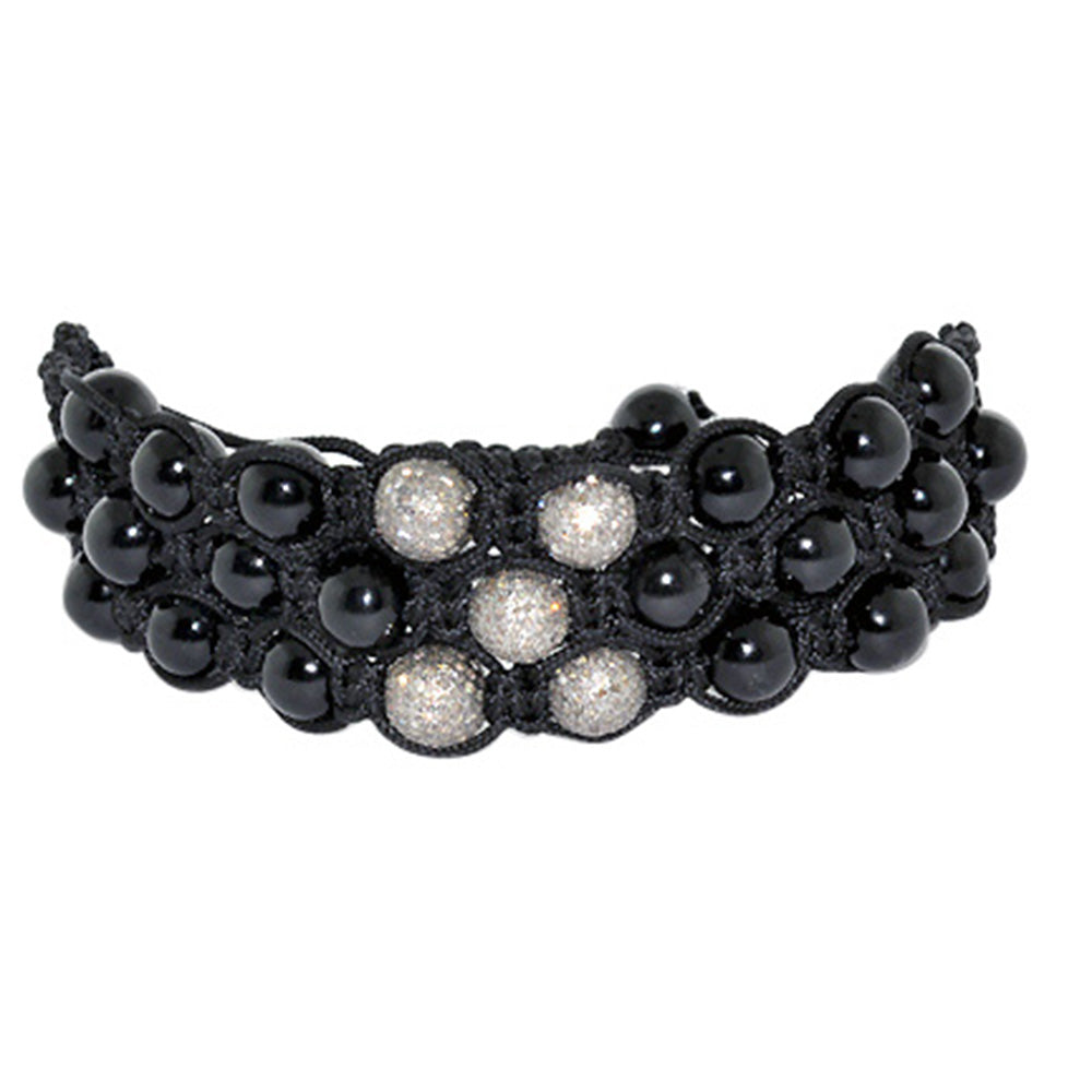 Beaded Black Onyx Micro Pave Macrame Bracelet Fashion
