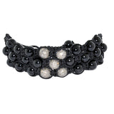 5.0ct Pave Diamond Black Onyx Beads Bracelet 925 Silver Women Jewelry