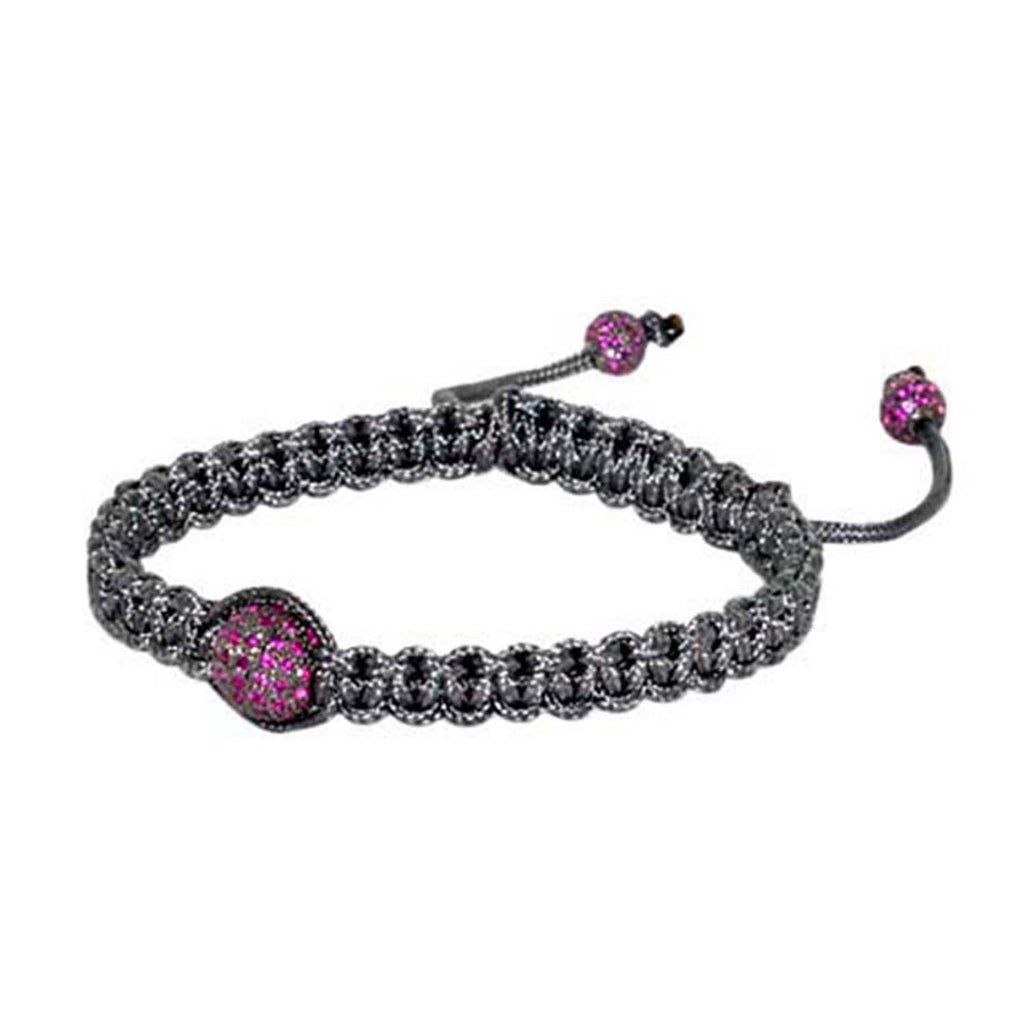 1.75ct Ruby Sterling Silver Handmade Macrame Thread Bracelet Fashion Jewelry