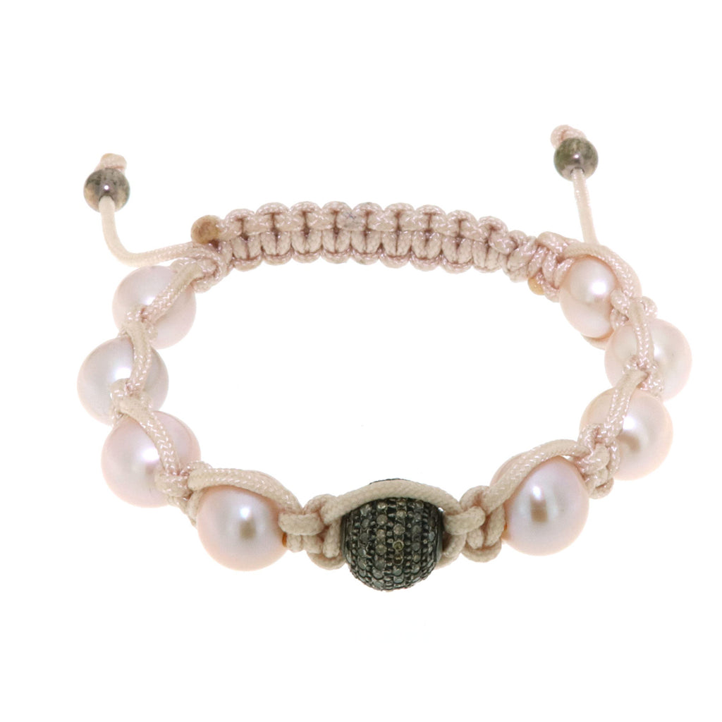 Pearl Beads Macrame Bracelet Jewelry In Sterling Silver