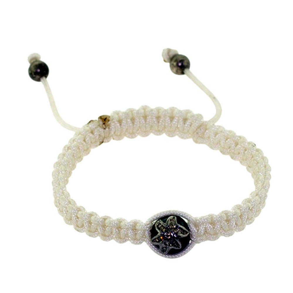 New Fashion ! Diamond Sterling Silver White Thread Macrame Bracelet Jewelry
