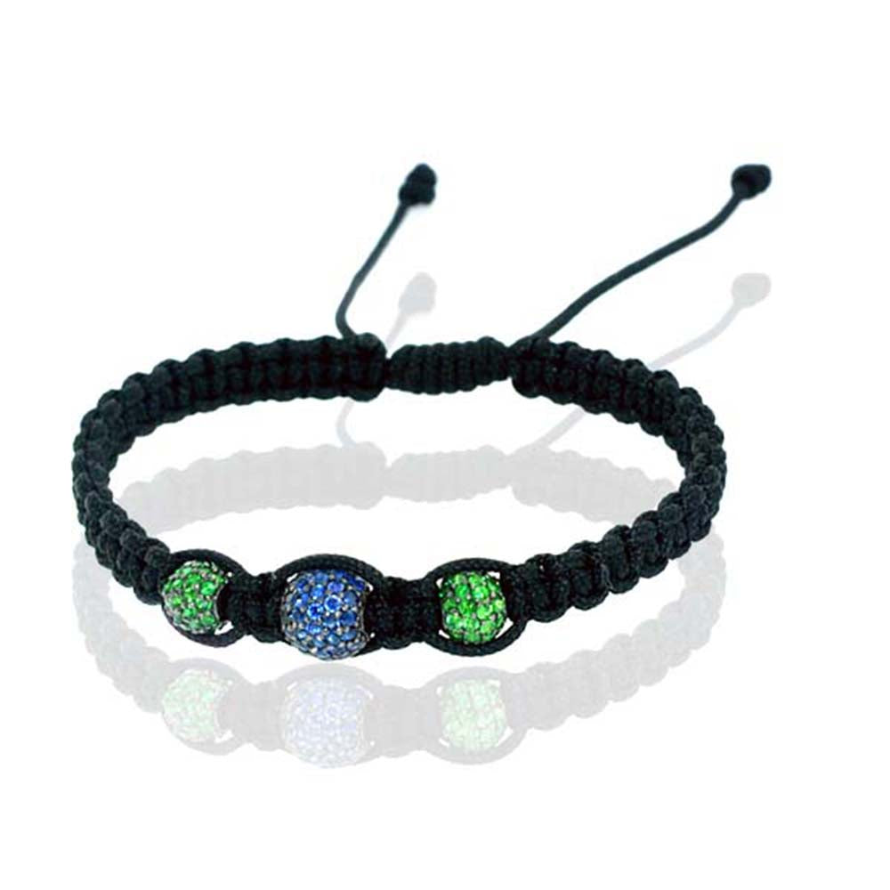 2.8ct Sapphire Gemstone Sterling Silver Adjustable Macrame Bracelet Jewelry
