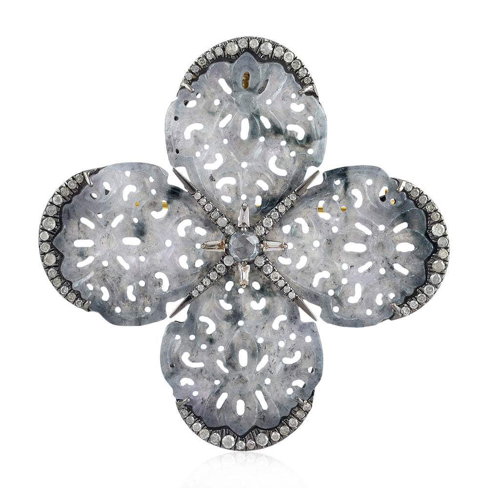 925 Silver Pave Diamond Sapphire Gemstone Designer Brooch Pin 18K Gold