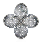 925 Silver Pave Diamond Sapphire Gemstone Designer Brooch Pin 18K Gold Christmas Gift