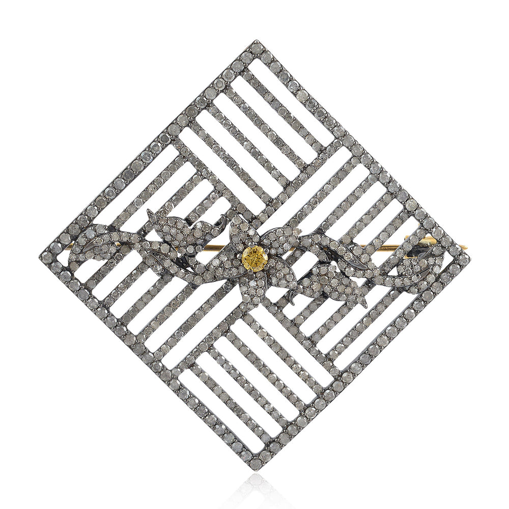 925 Silver 5.14Ct Natural Diamond Pave Brooch Pin 18K Gold Fine Jewelry