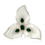 Chrome Diopside Pave Diamond Mother Of Pearl Floral Brooch Pin 18k White Gold