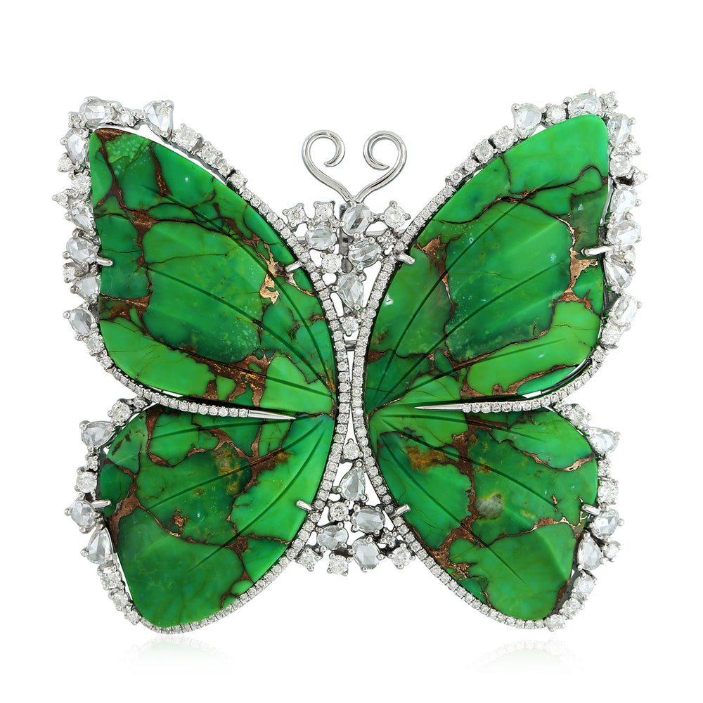 Solid White Gold 4.21Ct Genuine Diamond Turquoise Butterfly Brooch For Womens