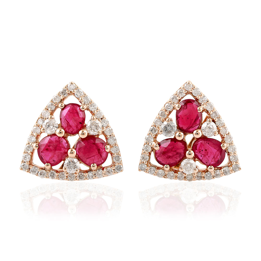 July Ruby Birthstone Pave Diamond 18kt Rose Gold Handmade Stud Earrings Jewelry