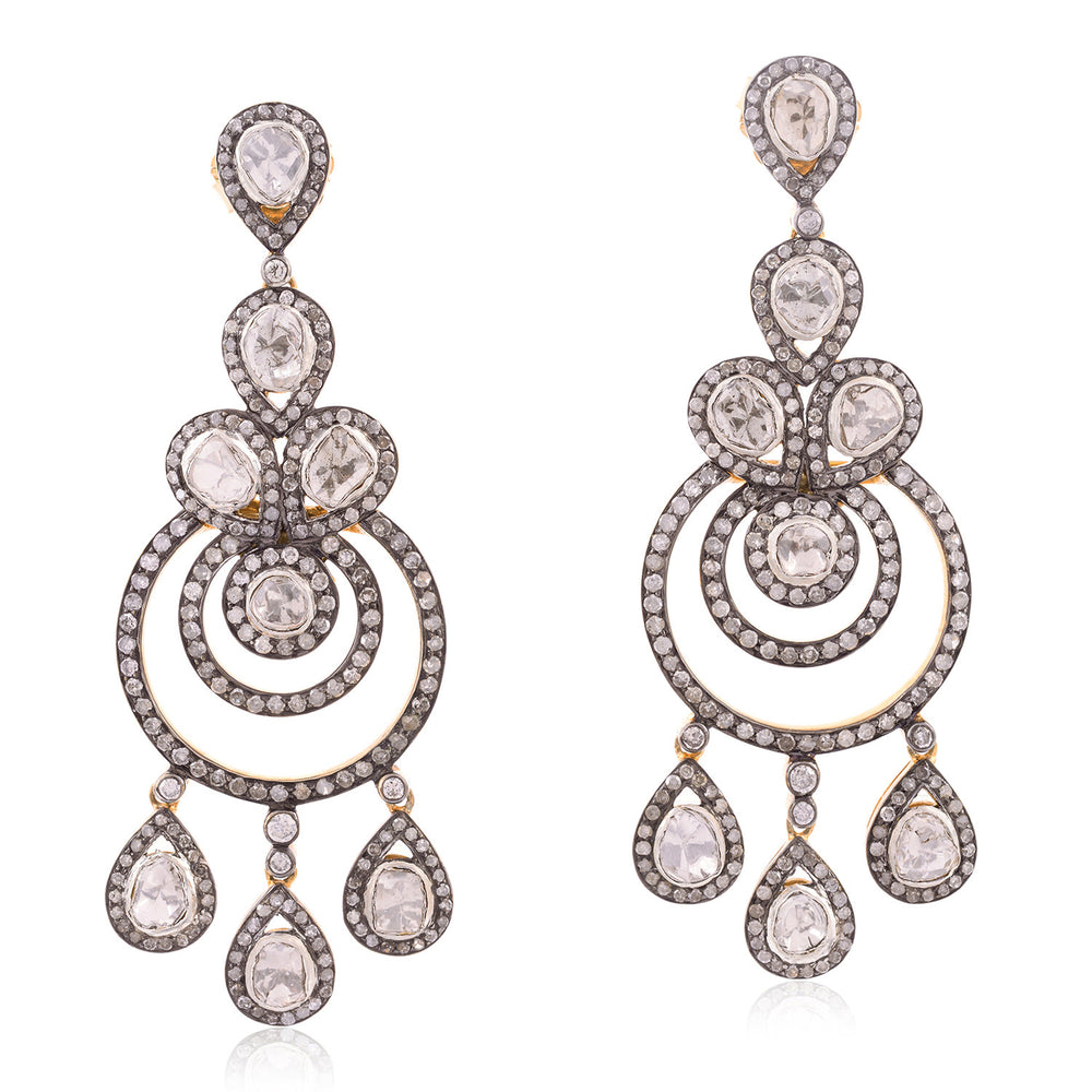 Thanksgiving Gift 9.13ct Natural Diamond 18kt Gold 925 Sterling Silver Chandelier Earrings Jewelry