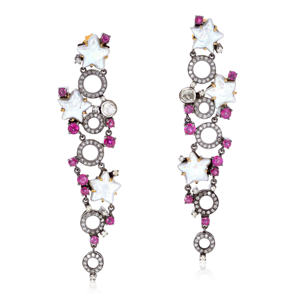 20.53ct Pearl Ruby Diamond Dangle Earrings 18kt Gold 925 Sterling Silver Jewelry Black Friday Sale Valentines Gift