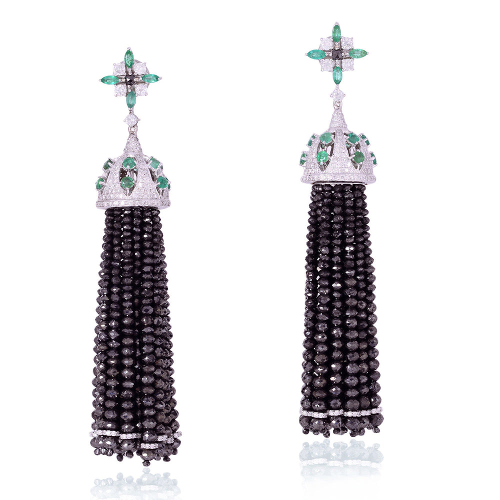 18Kt Solid White Gold 2.6Ct Emerald Diamond Tassel Earrings Party Wear Jewelry