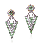 1.54Ct Tsavorite Pave Diamond 18Kt Gold .925 Sterling Silver Ear Jacket Jewelry