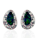 18kt Gold 3.65Ct Opal Gemstone and Pave Diamond Stud Earrings November Birthstone Jewelry